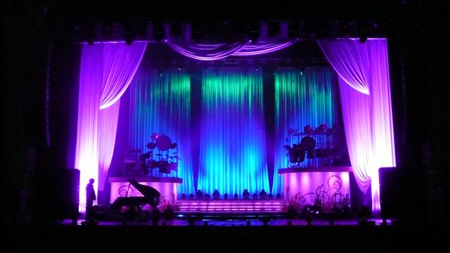 Stage curtains fabric - Add White Voile Drapes To Create A Breathtaking Concert Stage Design