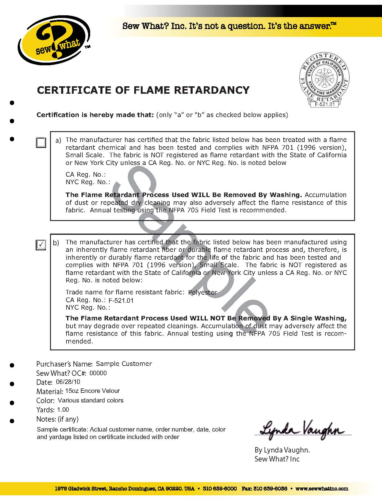 The basics of fabric flammability and flame retardancy sew what certification of flame retardancy 1betcityfo Gallery