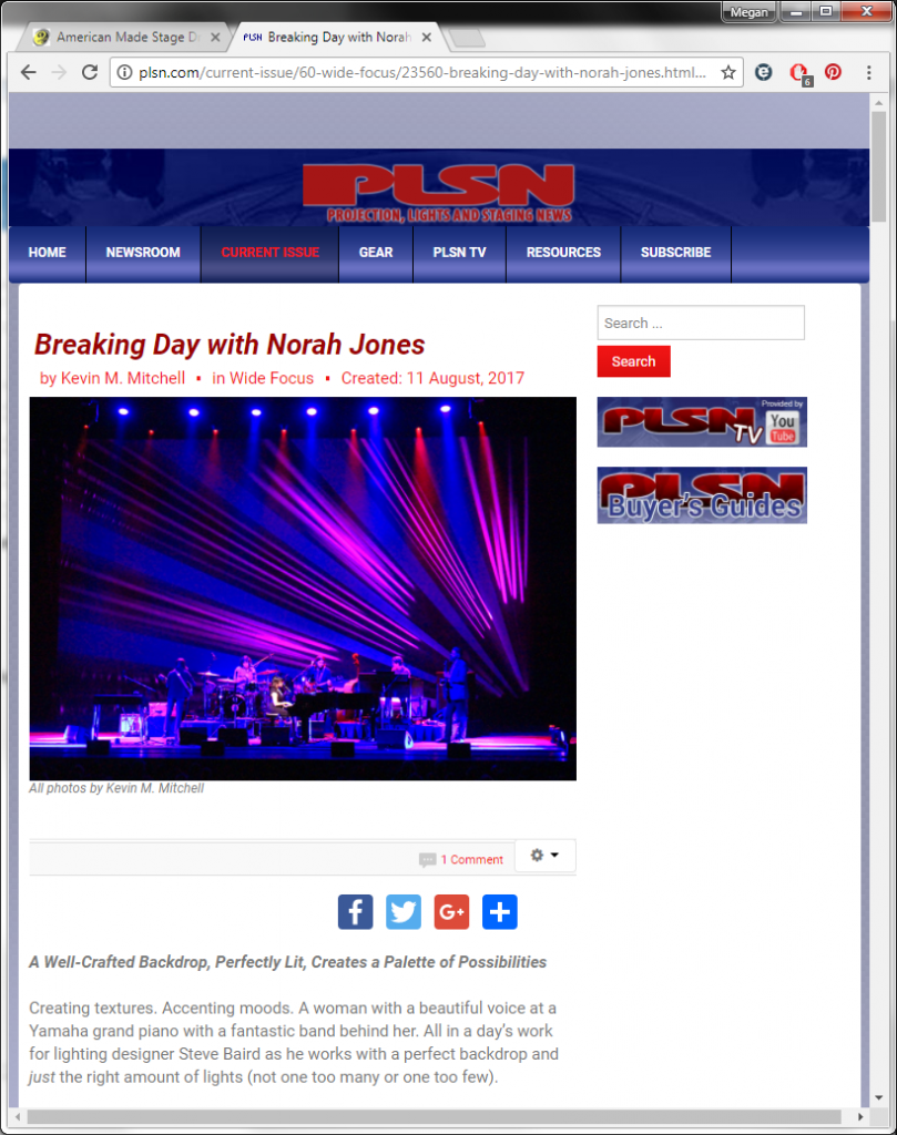 Sew What? Inc backdrop for artist Norah Jones featured in Pro Lights