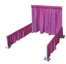 Sew What? Single Booth 1, trade show booth, drape supports, show booth drapery panels, show booth bases, show booth uprights
