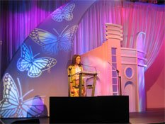 Sew What? Butterflies, stage curtains, stage drapes, theatrical drapery, stage backdrops, curtain tracks